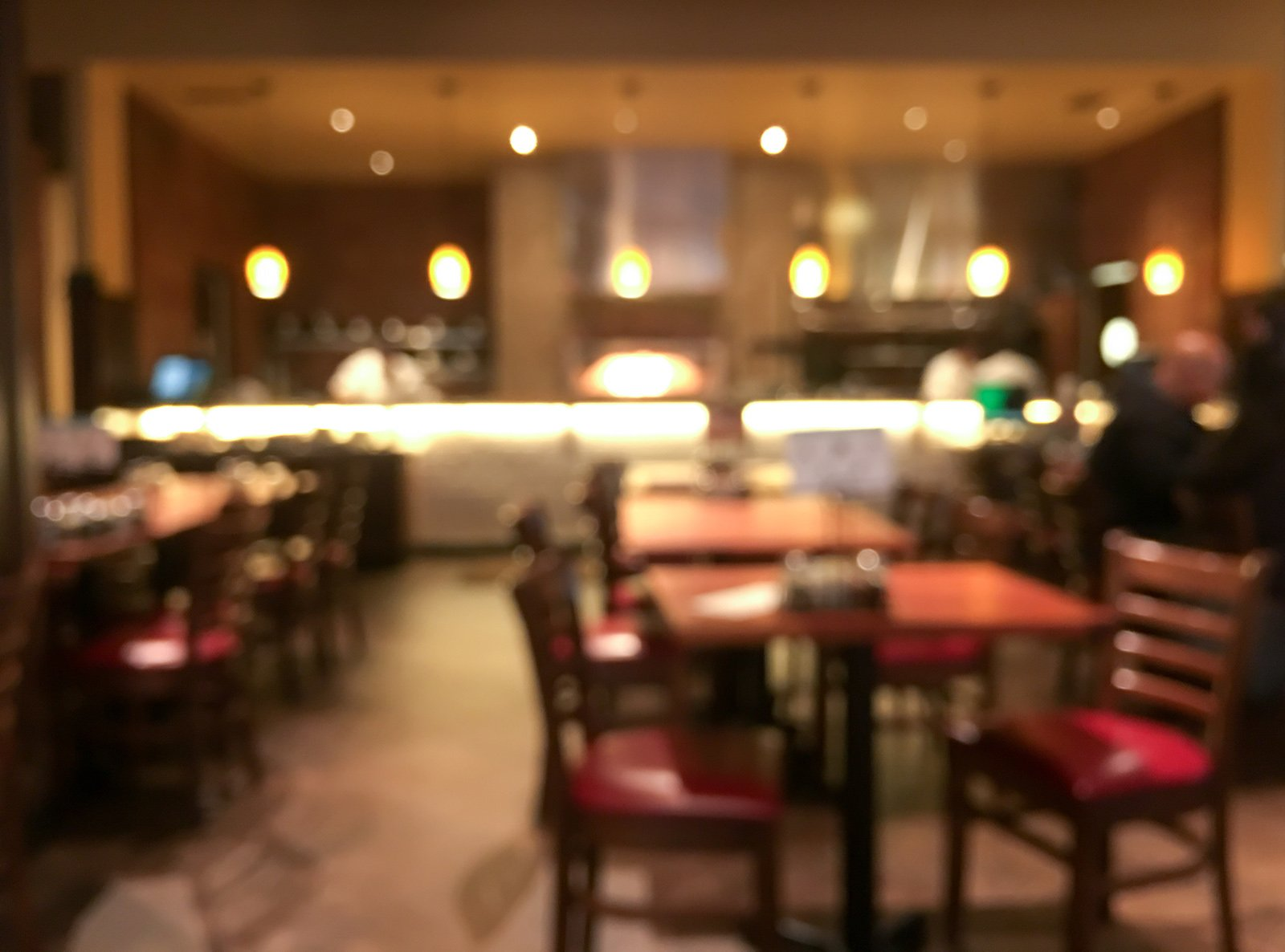 Blurred restaurant and kitchen on background, abstract