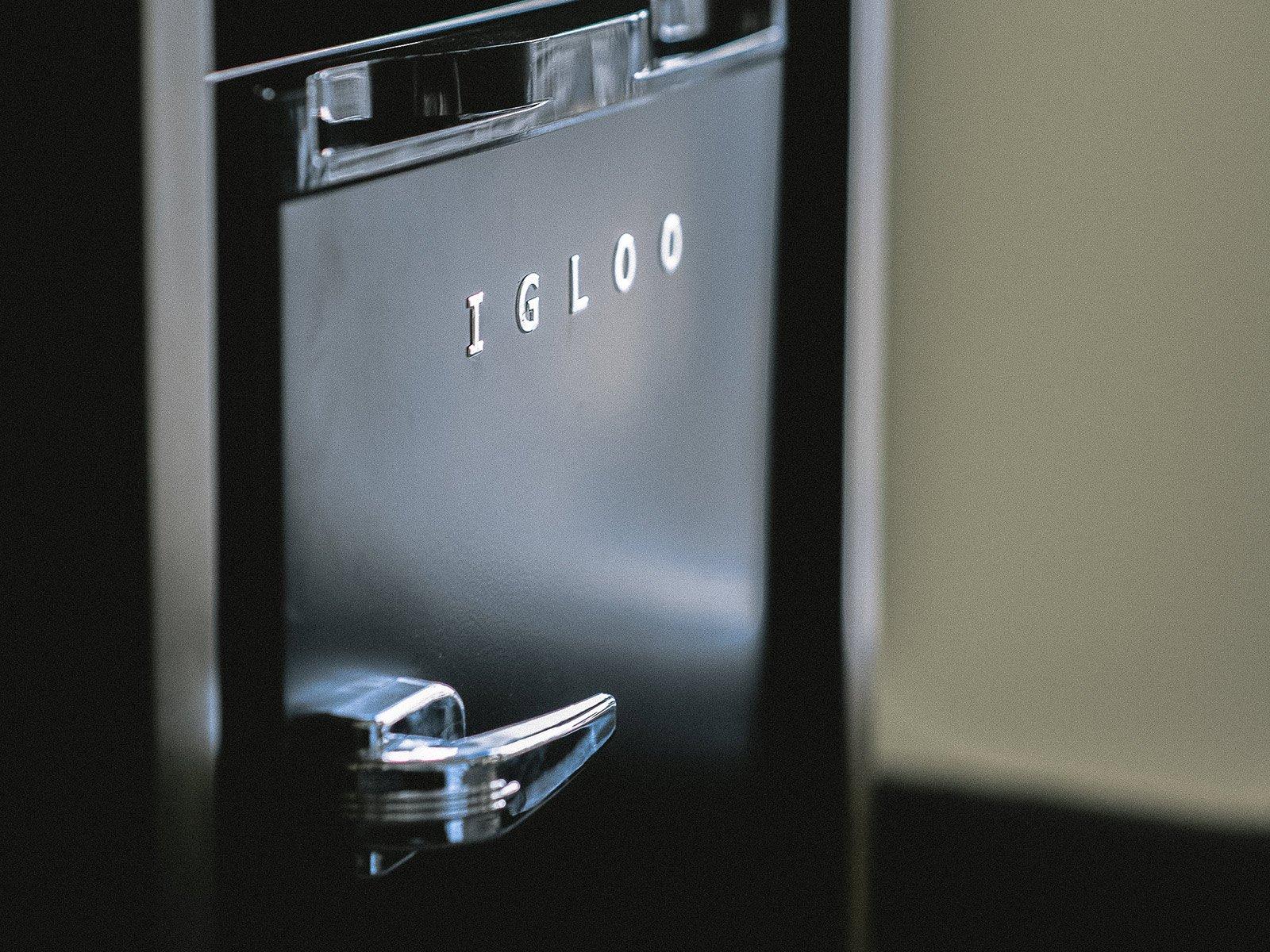 Black Igloo retro mini refrigerator in room at The Troubadour