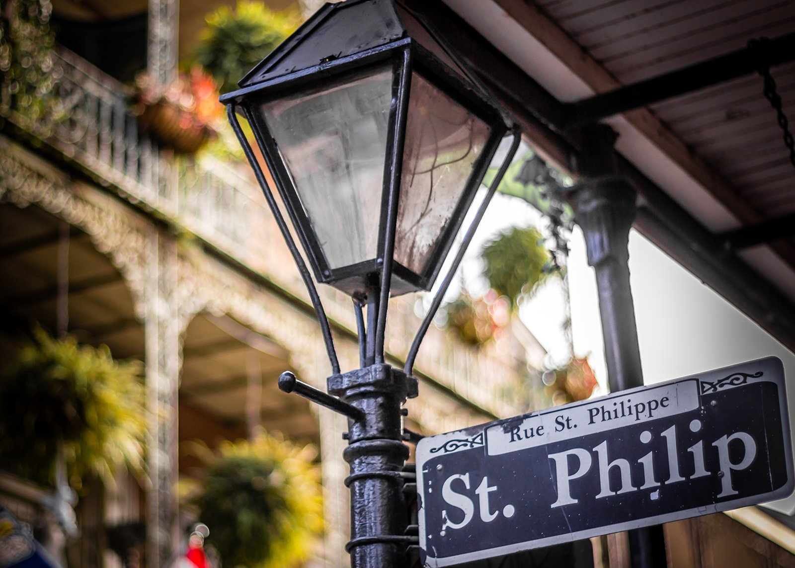 St. Philip Street sign on lamp post in New Orleans French Quarter