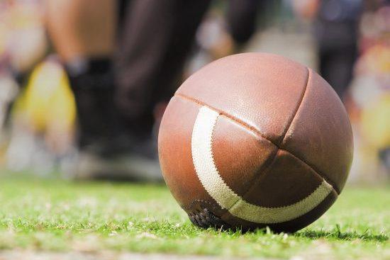 Football on grass field