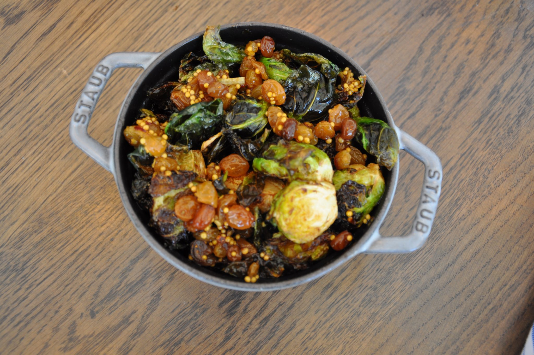 Brussels sprouts with pickled raisins